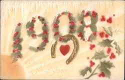 1908, With Floral Decorations, Heart and Horseshoe Postcard
