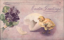 Easter Greetings, With Chick and Lilacs