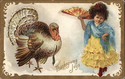 Thanksgiving Joys - Turkey and Young Girl