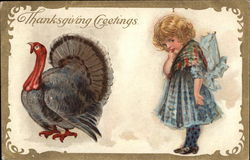 Thanksgiving Greetings - Young Girl and Turkey
