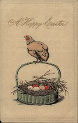 Happy Easter - Chicken with Basket of Eggs