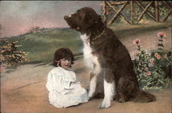 St. Bernard with Young Girl