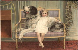 Young Girl and St. Bernard
