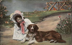 Girl in Bonnet with Brown and White Dog