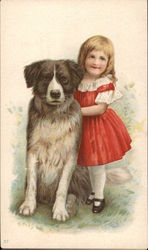 Girl in Red Dress with Dog