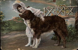 Girl with Brown Dog by a Bridge