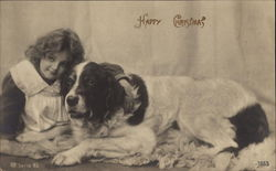 Happy Christmas - Girl and St.Bernard Dog