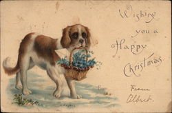 Wishing You A Happy Christmas - Dog Carrying Basket of Flowers