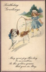 Birthday Greetings - Girl with Hoop and Dog