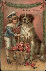 Birthday Greeting - Boy with Dog and Basket of Roses