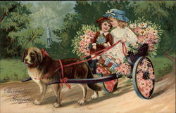 Two Children in a Dog-Cart Covered with Flowers