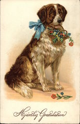 St. Bernard Holding Basket of Flowers