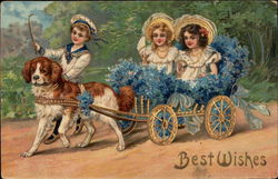 Best Wishes - Children in Dog Cart with Flowers