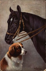 Black Horse with Dog