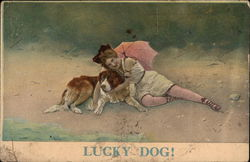 Woman in Undergarments with a Parasol Cuddling Dog