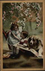 Boy and Girl Reading with Dog