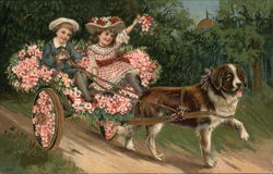 Children in Flowery Dog-Carriage