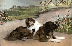 Girl in Garden With Dog