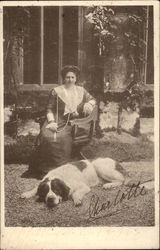 Woman With Her St. Bernard