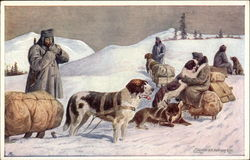 Dogs Pulling Sleds in Snow