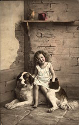Girl with St. Bernard