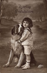 Young Boy with St. Bernard