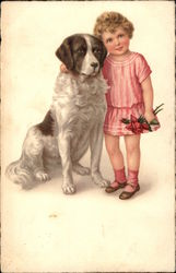 Young Girl in Pink Dress with Dog