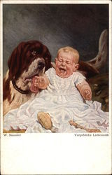Crying baby and St. Bernard
