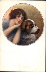 Young Woman with a St. Bernard