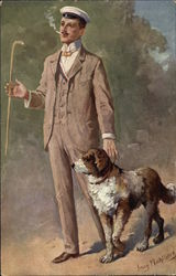 Man in Brown Suit with Dog