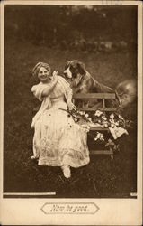Woman on Bench with Flowers and Dog