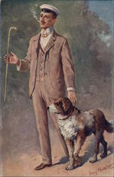Man in Suit with Cane and Dog