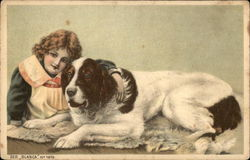 St. Bernard and Young Girl