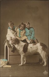 Three Children Sitting on a Doghouse, Petting a Dog