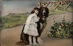 Young Girl with St. Bernard