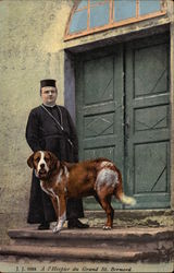 Man in Black Priest's Clothes with St. Bernard