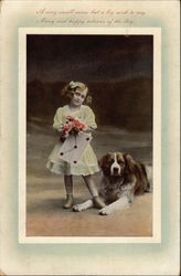 Girl with her St. Bernard