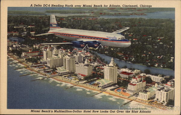A Delta DC-6 Heading North Over Miami Beach Florida