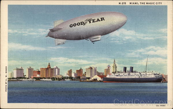 Good Year Blimp over the City Miami Florida