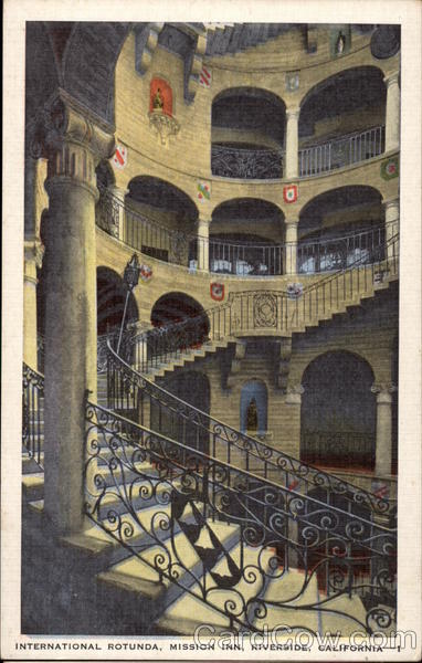 International Rotunda, Mission Inn Antique Postcard