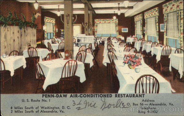 Penn-Daw Air-Conditioned Restaurant Alexandria Virginia