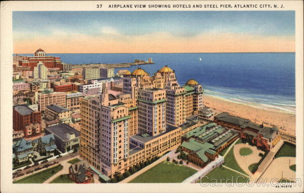 Airplane View showing Hotels and Steel Pier Atlantic City New Jersey