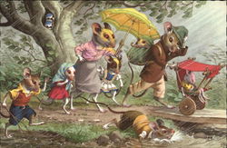 Mouse Family in a Rainstorm
