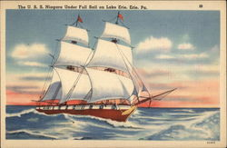 The USS Niagara under full sail on Lake Erie