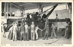 Maintenance of 155 mm. gun - Ordnance Training Center Postcard