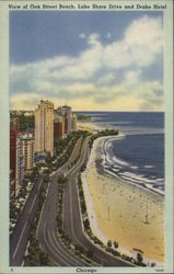 View of Oak Street Beach, Lake Shore Drive and Drake Hotel Postcard