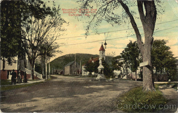 Mountain Street And Soldiers Monument Camden Maine