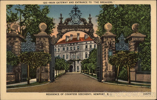 Main Gateway and Entrance to The Breakers. Residence of Countess Szechenyi Newport Rhode Island