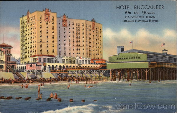 Hotel Buccaneer, On the Beach Galveston, TX: cardcow.com/300546/hotel-buccaneer-beach-galveston-texas