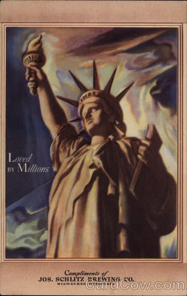 Loved By Millions - The Statue of Liberty Antique Postcard